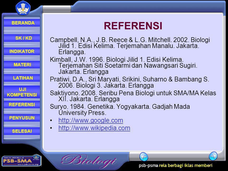 REFERENSI Campbell, N.A., J.B. Reece & L.G. Mitchell. 2002. Biologi Jilid 1. Edisi Kelima. Terjemahan Manalu. Jakarta. Erlangga.