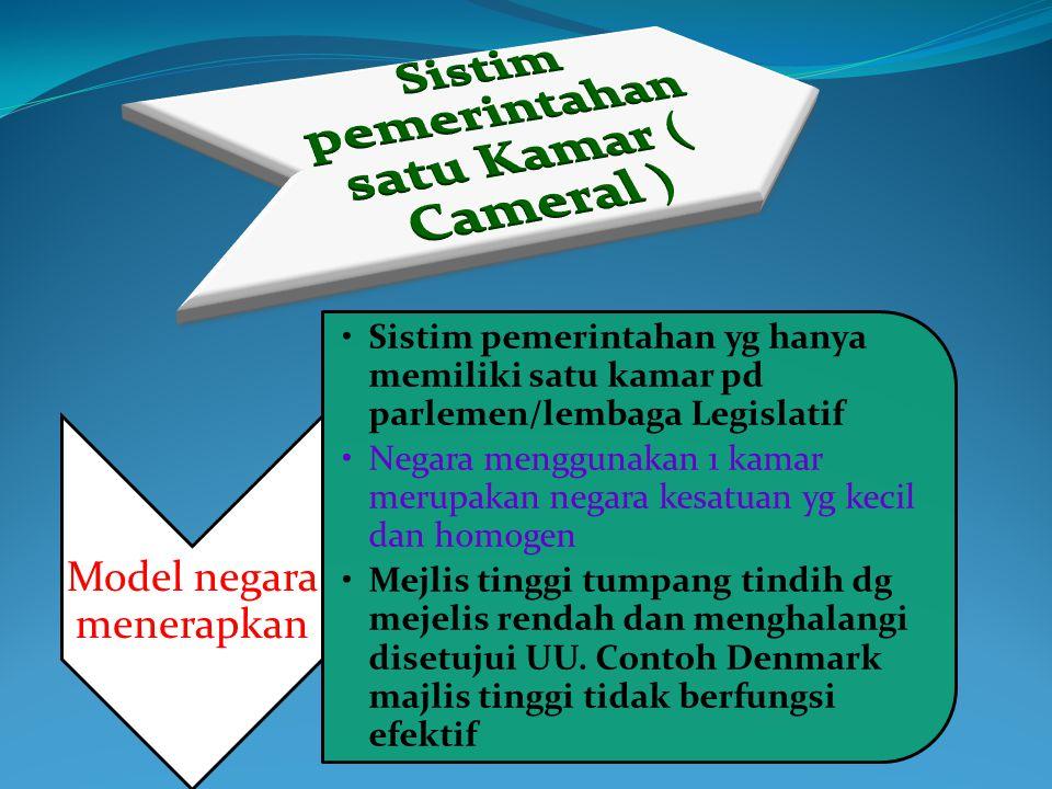Sistim pemerintahan satu Kamar ( Cameral )