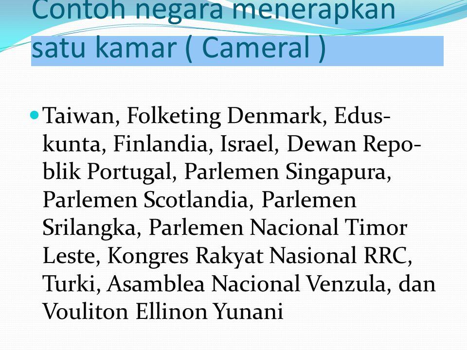 Contoh negara menerapkan satu kamar ( Cameral )