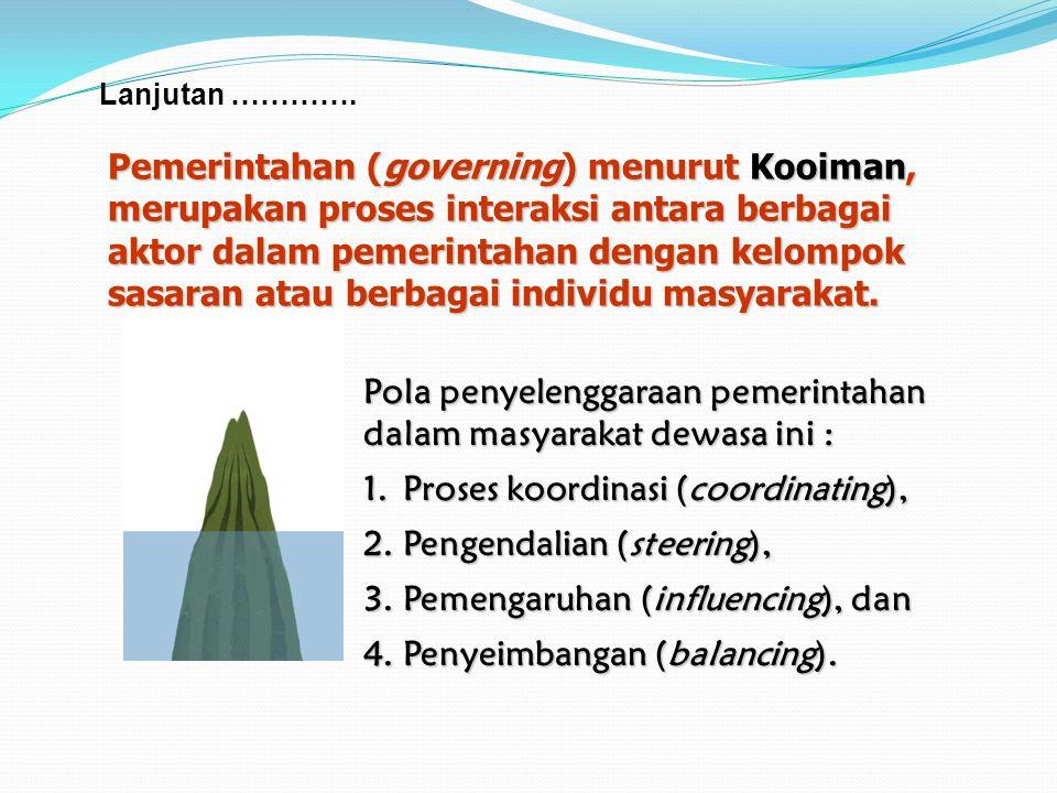 Pemerintahan (governing) menurut Kooiman,