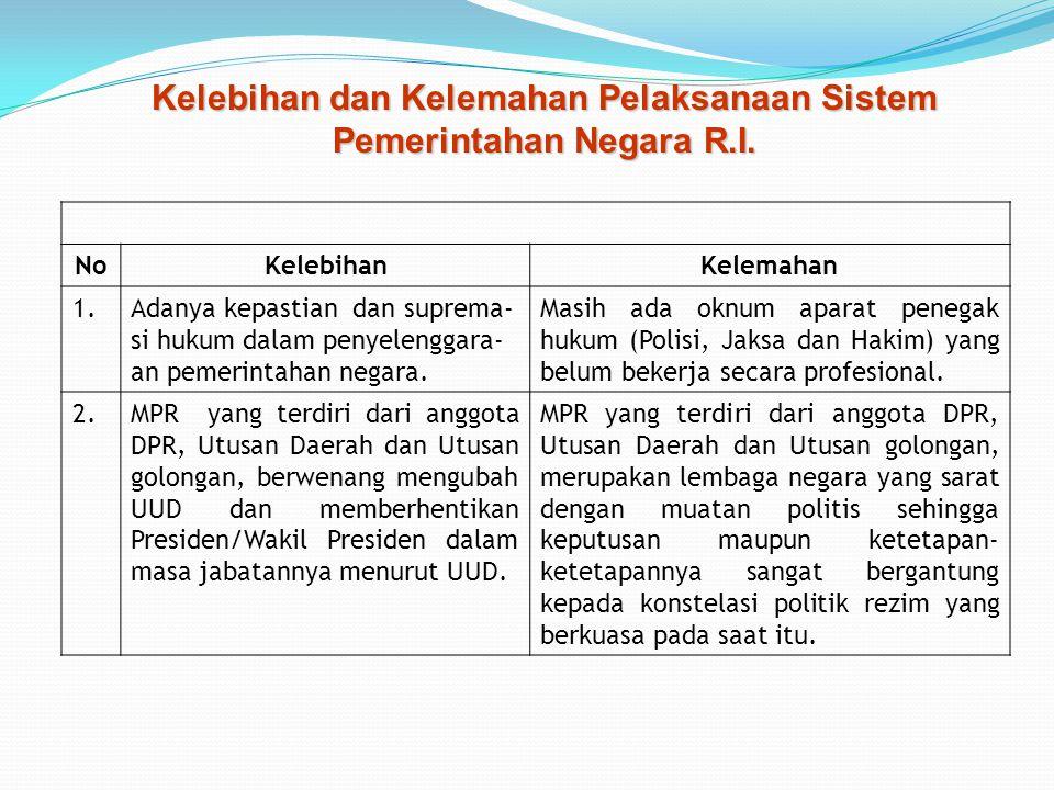 Kelebihan dan Kelemahan Pelaksanaan Sistem Pemerintahan Negara R.I.
