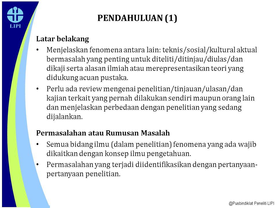 PENDAHULUAN (1) Latar belakang