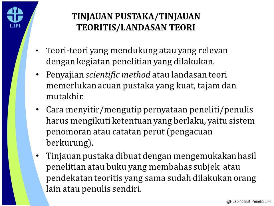 TINJAUAN PUSTAKA/TINJAUAN TEORITIS/LANDASAN TEORI