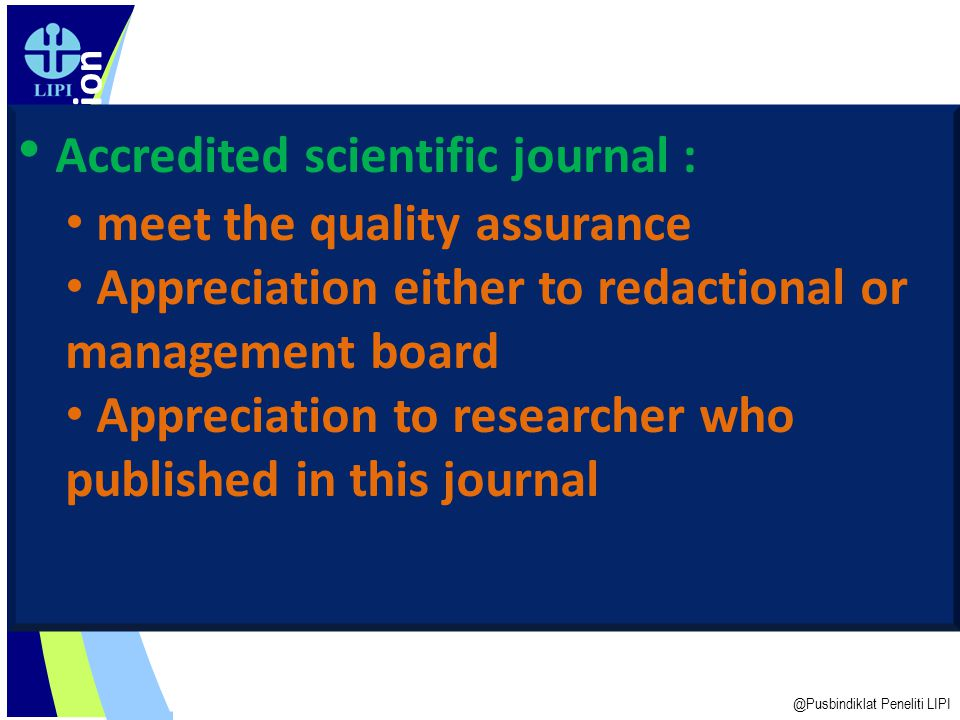 Accredited scientific journal :