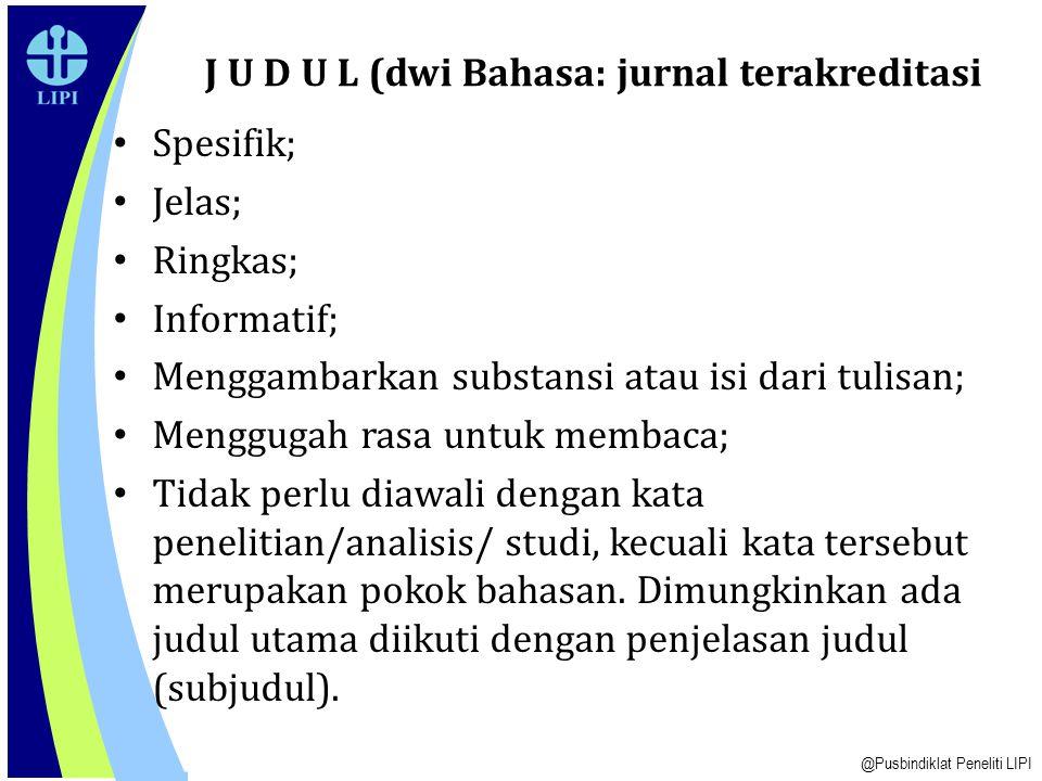 J U D U L (dwi Bahasa: jurnal terakreditasi