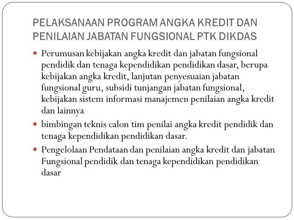 PELAKSANAAN PROGRAM ANGKA KREDIT DAN PENILAIAN JABATAN FUNGSIONAL PTK DIKDAS