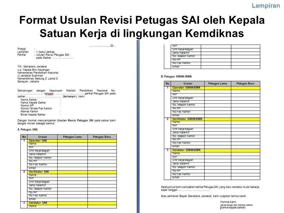 Lampiran Format Usulan Revisi Petugas SAI oleh Kepala Satuan Kerja di lingkungan Kemdiknas