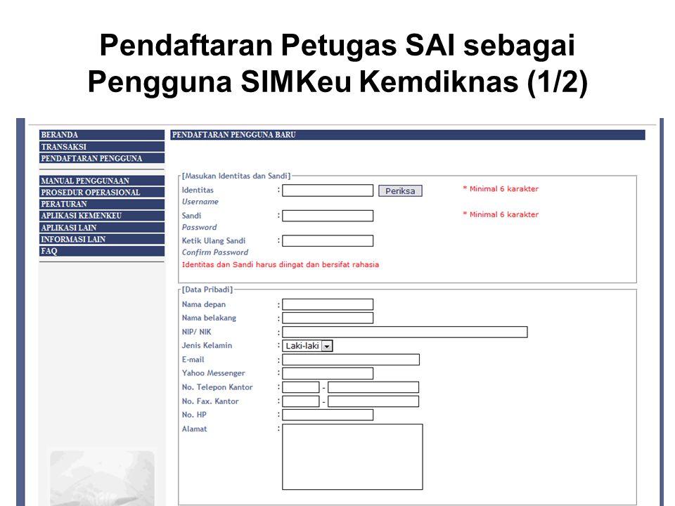 Pendaftaran Petugas SAI sebagai Pengguna SIMKeu Kemdiknas (1/2)