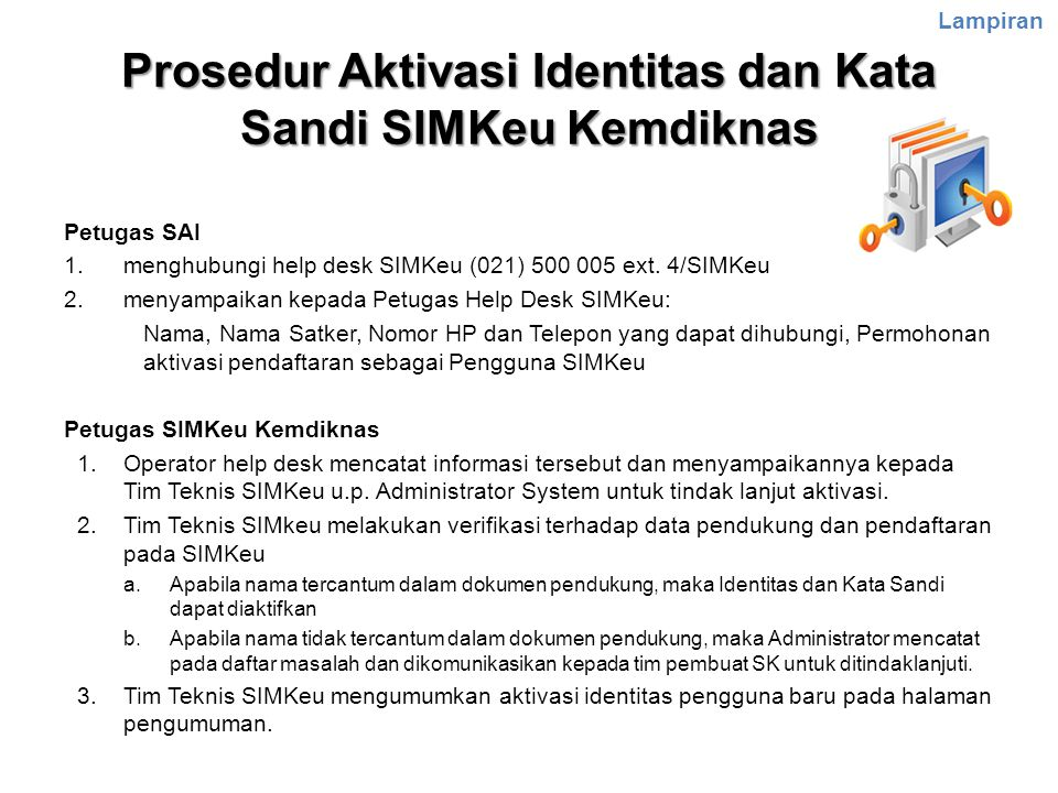 Prosedur Aktivasi Identitas dan Kata Sandi SIMKeu Kemdiknas
