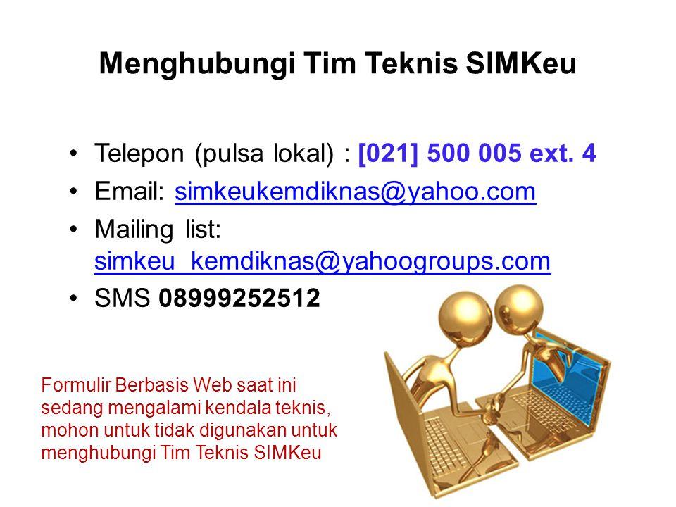 Menghubungi Tim Teknis SIMKeu