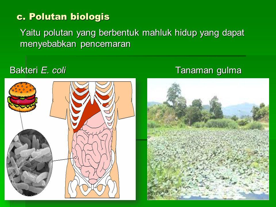 c. Polutan biologis Yaitu polutan yang berbentuk mahluk hidup yang dapat menyebabkan pencemaran.