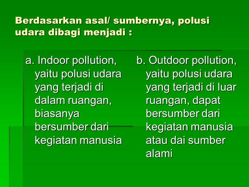 Berdasarkan asal/ sumbernya, polusi udara dibagi menjadi :