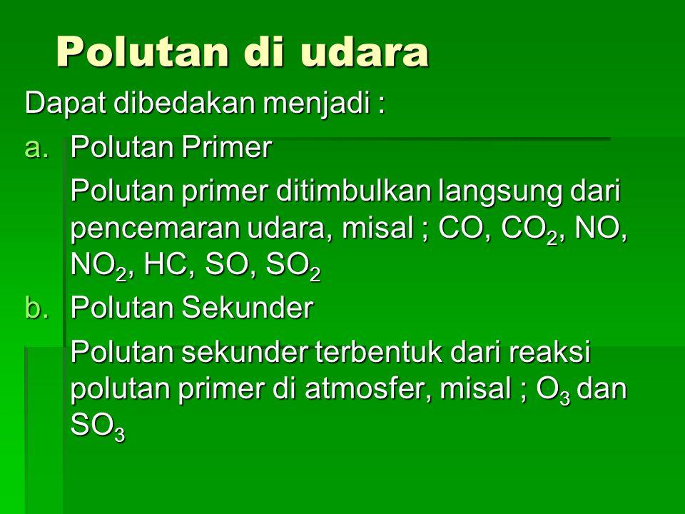 Polutan di udara Dapat dibedakan menjadi : Polutan Primer