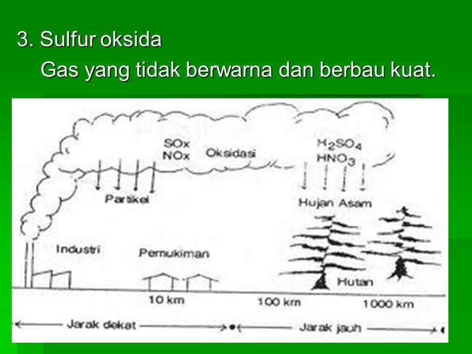 3. Sulfur oksida Gas yang tidak berwarna dan berbau kuat.