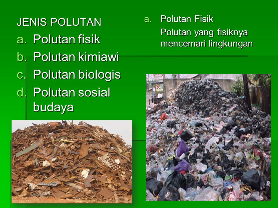 Polutan fisik Polutan kimiawi Polutan biologis Polutan sosial budaya