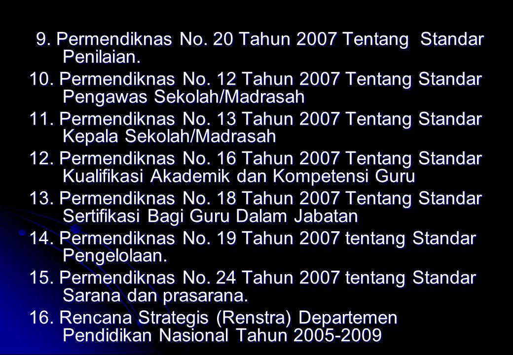 14. Permendiknas No. 19 Tahun 2007 tentang Standar Pengelolaan.
