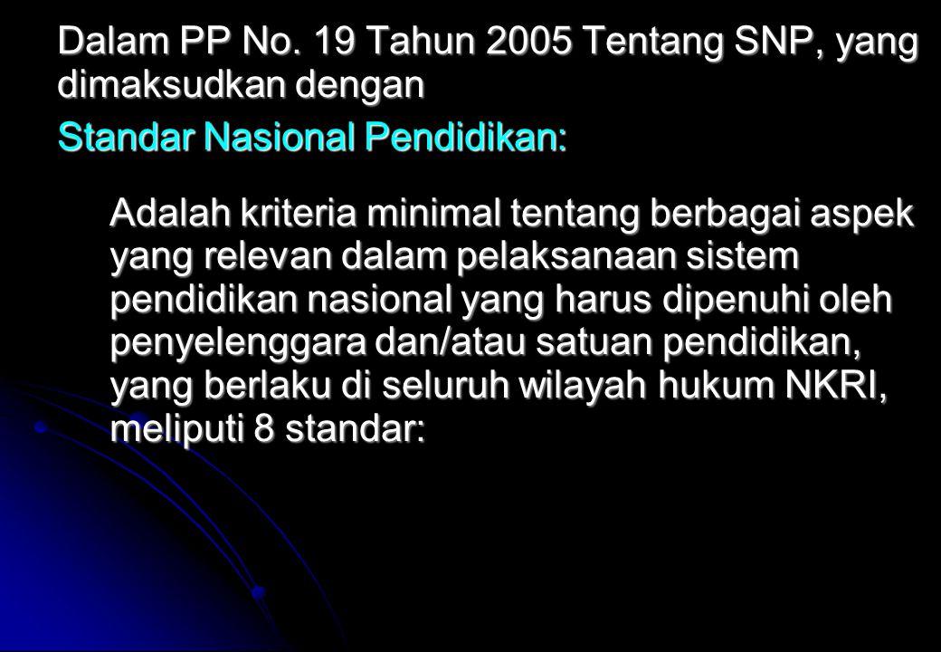 Dalam PP No. 19 Tahun 2005 Tentang SNP, yang dimaksudkan dengan