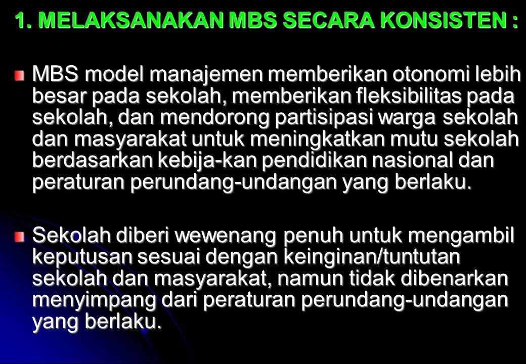 1. MELAKSANAKAN MBS SECARA KONSISTEN :
