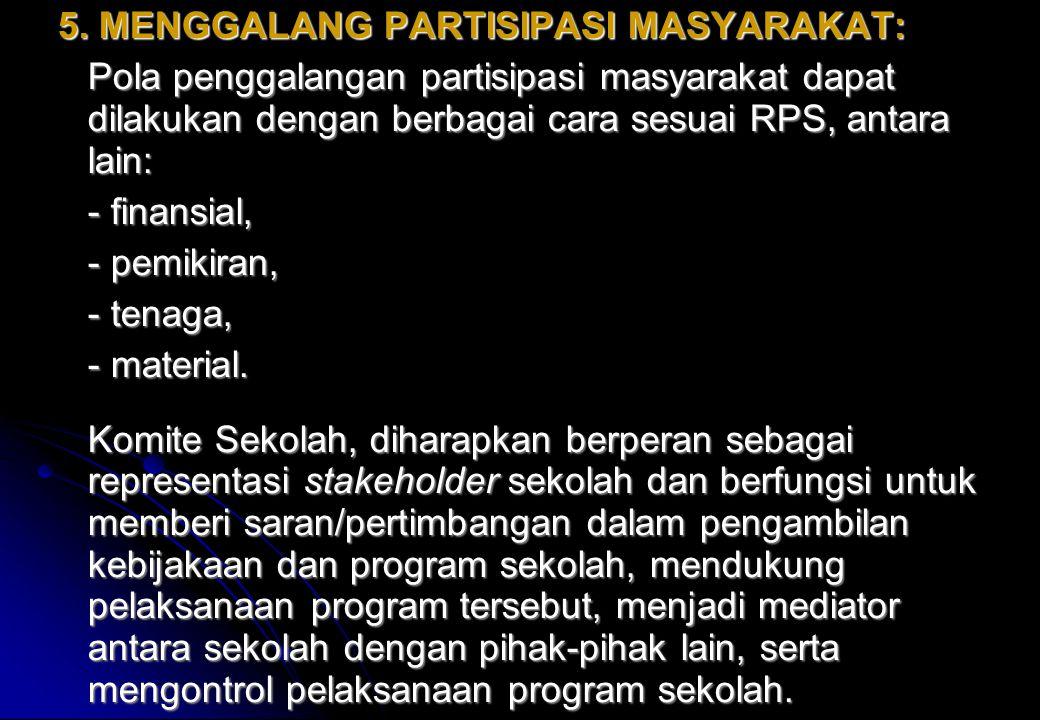 5. MENGGALANG PARTISIPASI MASYARAKAT: