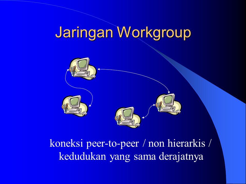 Jaringan Workgroup koneksi peer-to-peer / non hierarkis / kedudukan yang sama derajatnya