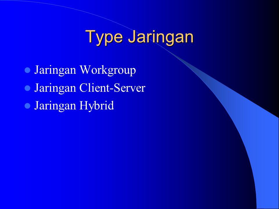 Type Jaringan Jaringan Workgroup Jaringan Client-Server