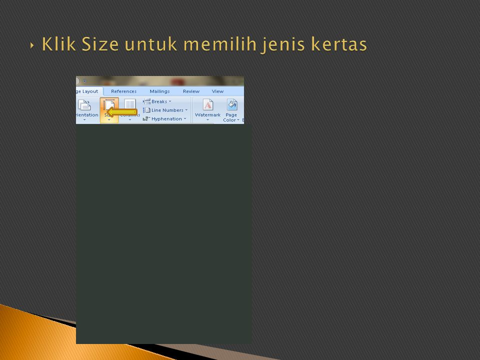 Klik Size untuk memilih jenis kertas