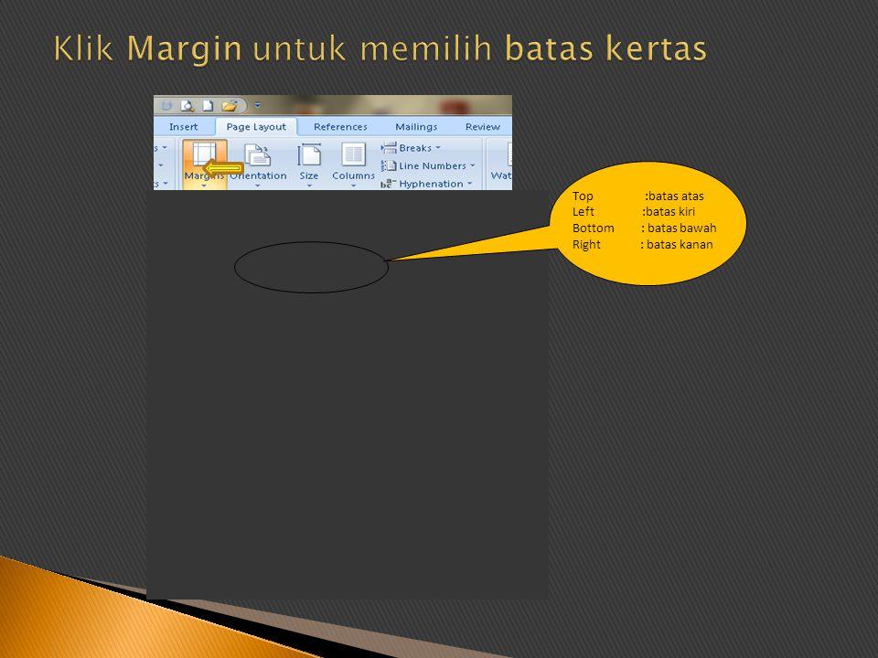 Klik Margin untuk memilih batas kertas