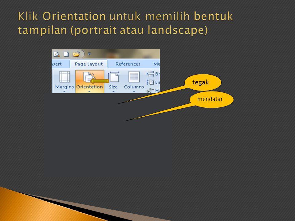 Klik Orientation untuk memilih bentuk tampilan (portrait atau landscape)