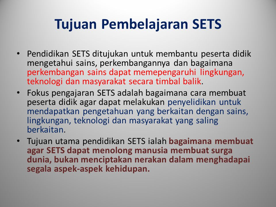 Tujuan Pembelajaran SETS