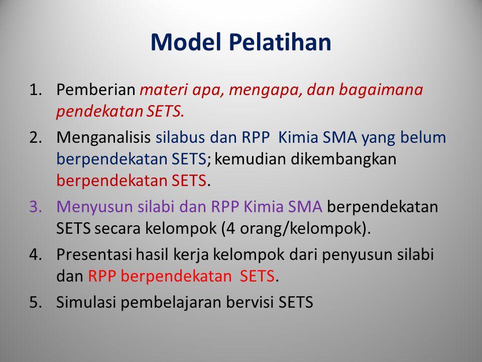 Model Pelatihan Pemberian materi apa, mengapa, dan bagaimana pendekatan SETS.