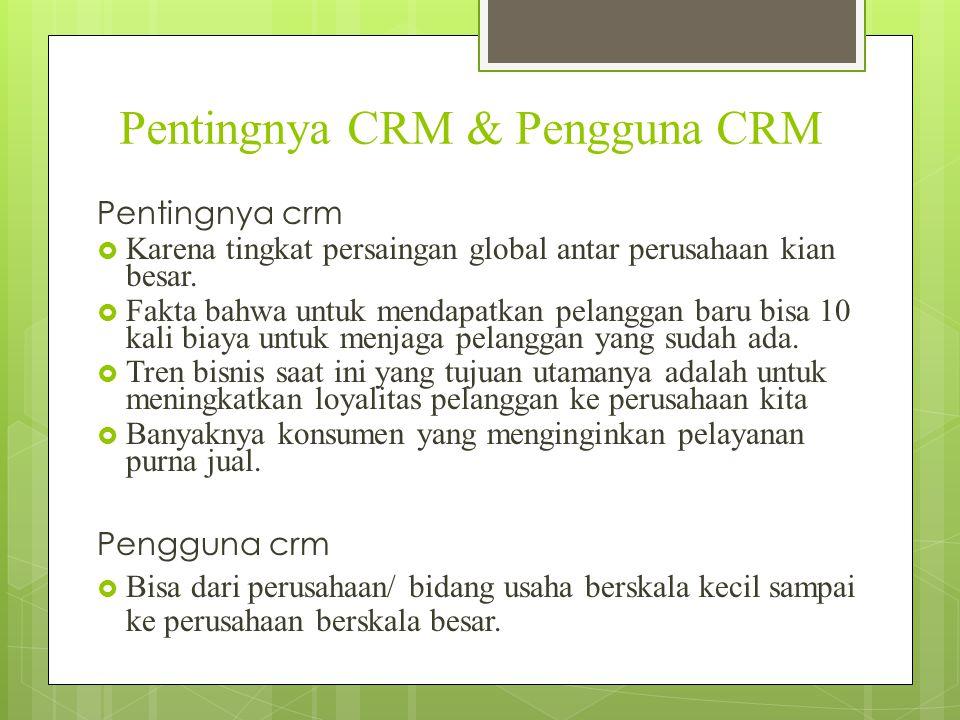 Pentingnya CRM & Pengguna CRM