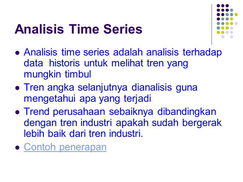 Analisis Time Series Analisis time series adalah analisis terhadap data historis untuk melihat tren yang mungkin timbul.