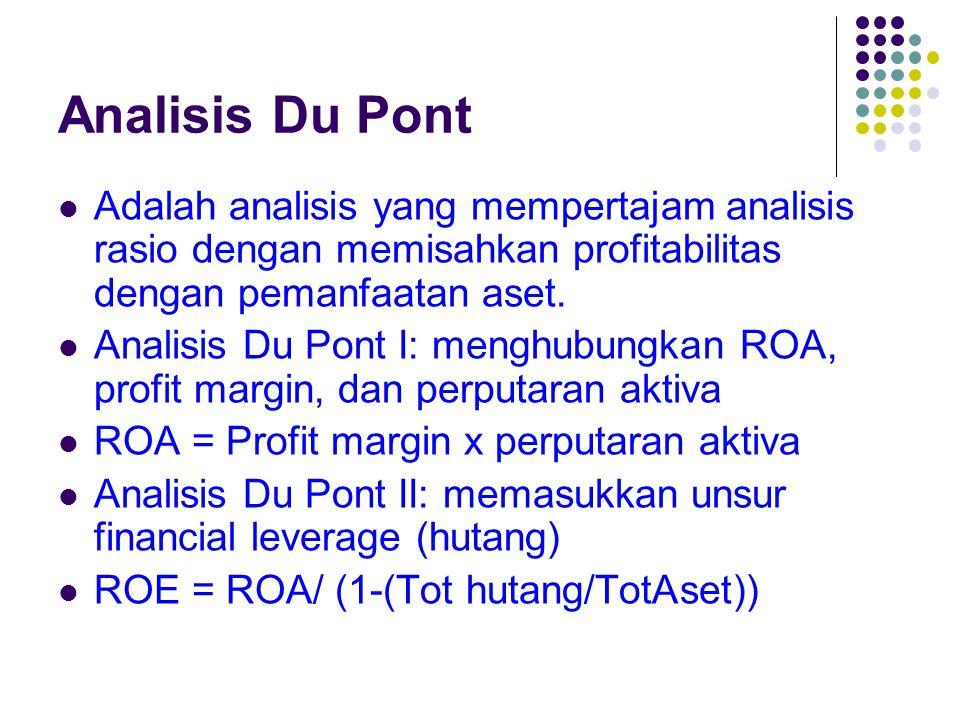 Analisis Du Pont Adalah analisis yang mempertajam analisis rasio dengan memisahkan profitabilitas dengan pemanfaatan aset.