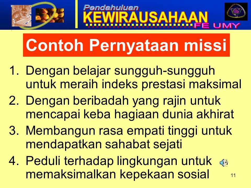 Contoh Pernyataan missi