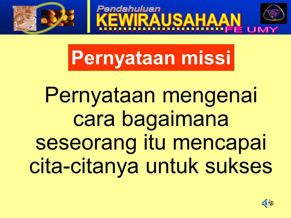 Pernyataan missi Pernyataan mengenai cara bagaimana seseorang itu mencapai cita-citanya untuk sukses.