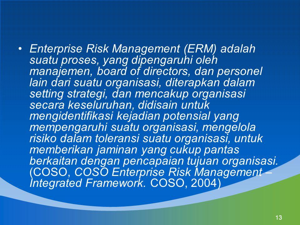 Enterprise Risk Management (ERM) adalah suatu proses, yang dipengaruhi oleh manajemen, board of directors, dan personel lain dari suatu organisasi, diterapkan dalam setting strategi, dan mencakup organisasi secara keseluruhan, didisain untuk mengidentifikasi kejadian potensial yang mempengaruhi suatu organisasi, mengelola risiko dalam toleransi suatu organisasi, untuk memberikan jaminan yang cukup pantas berkaitan dengan pencapaian tujuan organisasi.