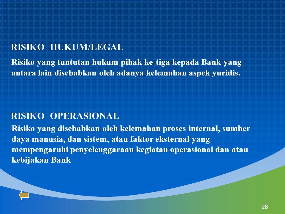RISIKO HUKUM/LEGAL RISIKO OPERASIONAL