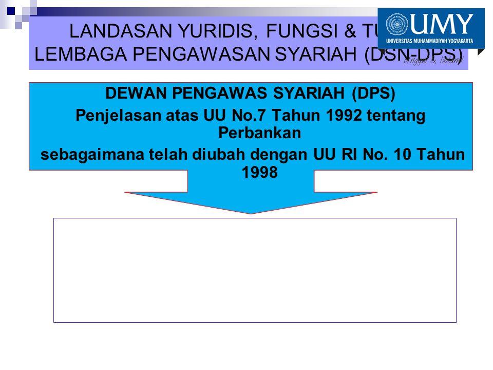 LANDASAN YURIDIS, FUNGSI & TUGAS LEMBAGA PENGAWASAN SYARIAH (DSN-DPS)