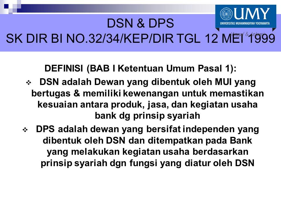 DSN & DPS SK DIR BI NO.32/34/KEP/DIR TGL 12 MEI 1999
