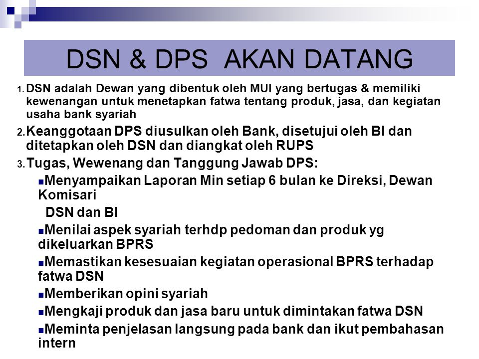 DSN & DPS AKAN DATANG