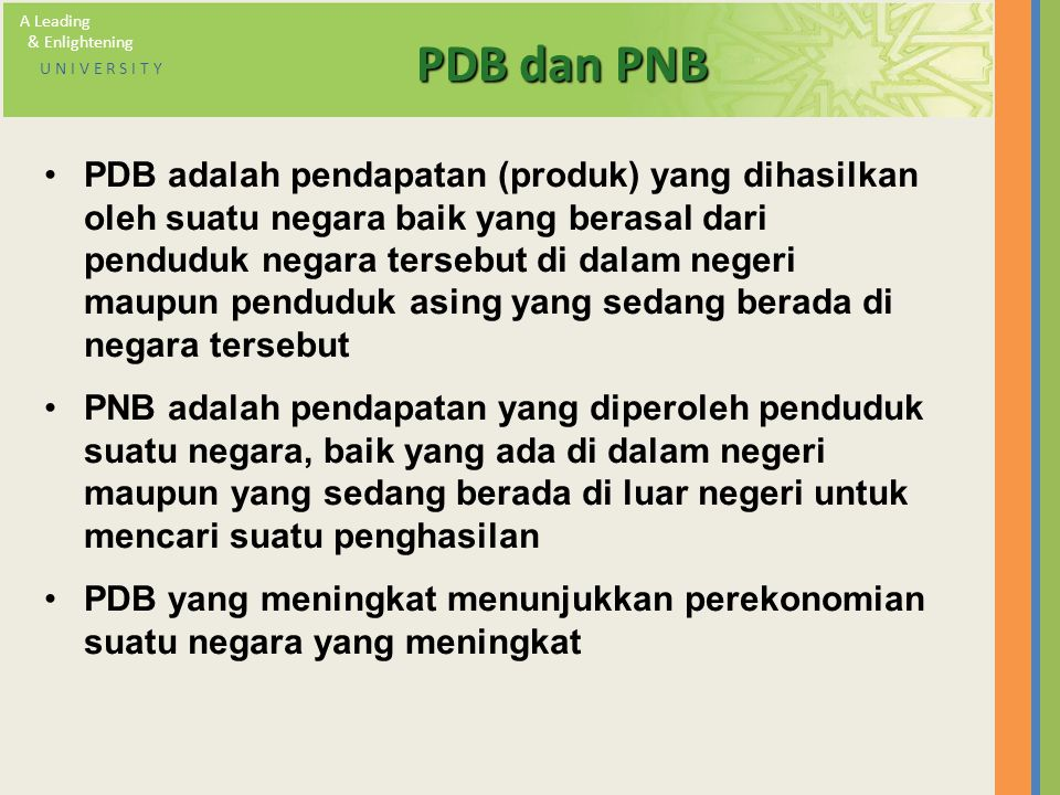 A Leading & Enlightening. U N I V E R S I T Y. PDB dan PNB.