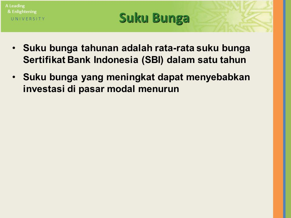 A Leading & Enlightening. U N I V E R S I T Y. Suku Bunga.