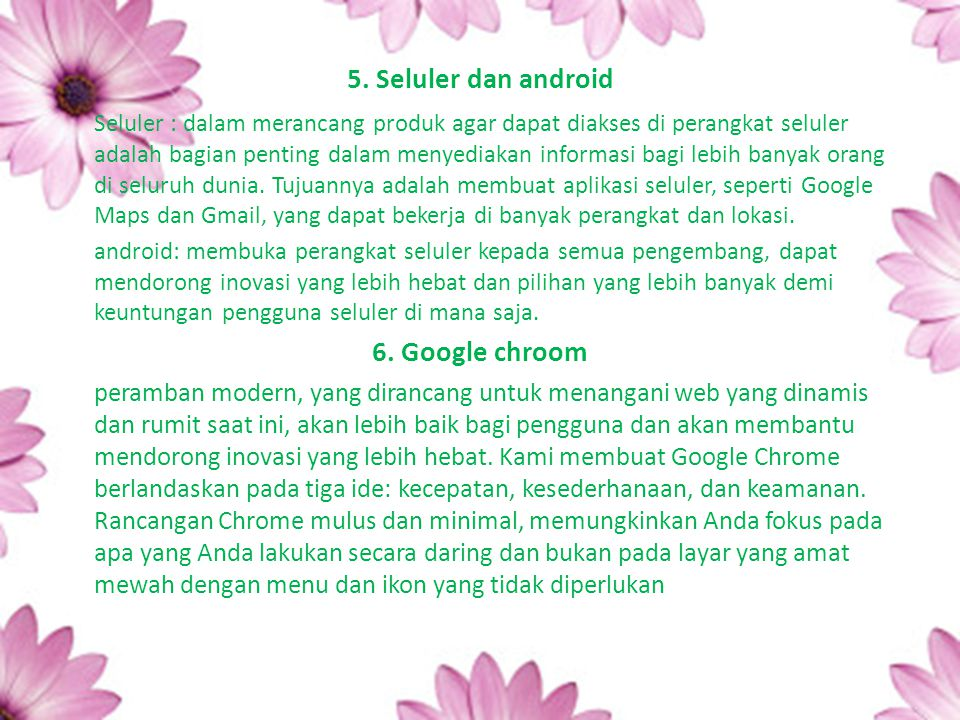 5. Seluler dan android 6. Google chroom