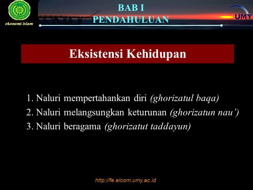 Eksistensi Kehidupan 1. Naluri mempertahankan diri (ghorizatul baqa)