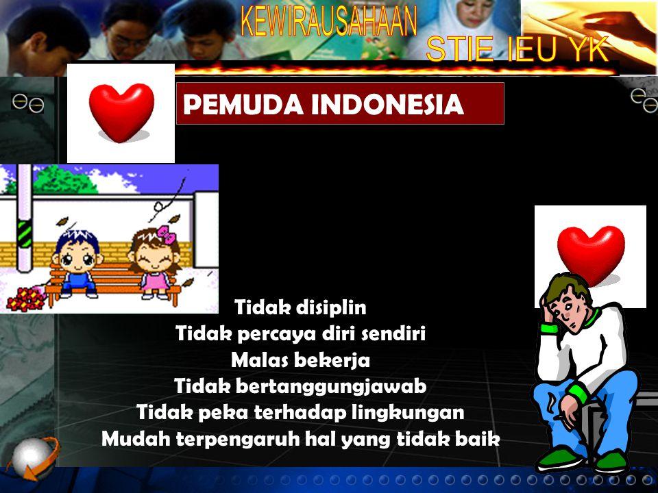 PEMUDA INDONESIA Tidak disiplin Tidak percaya diri sendiri