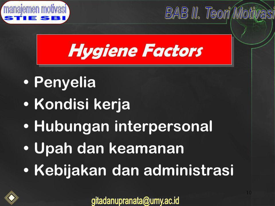 Hygiene Factors Penyelia Kondisi kerja Hubungan interpersonal
