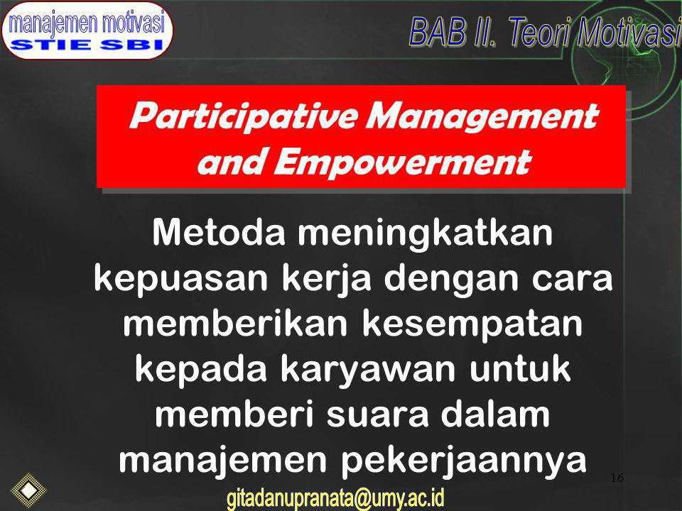 Participative Management and Empowerment
