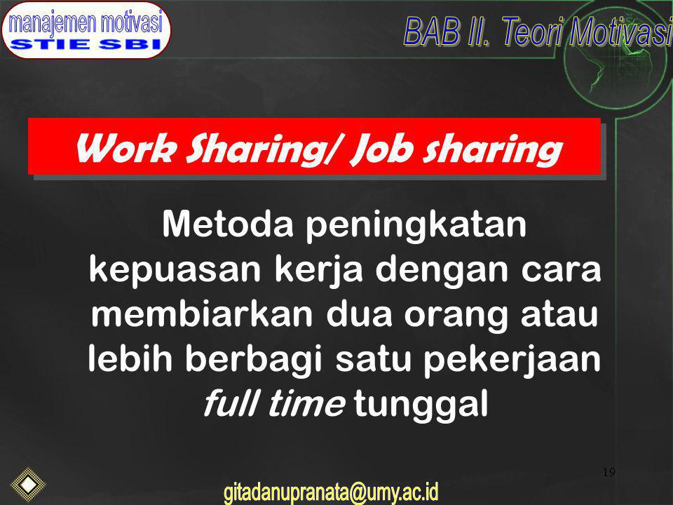 Work Sharing/ Job sharing