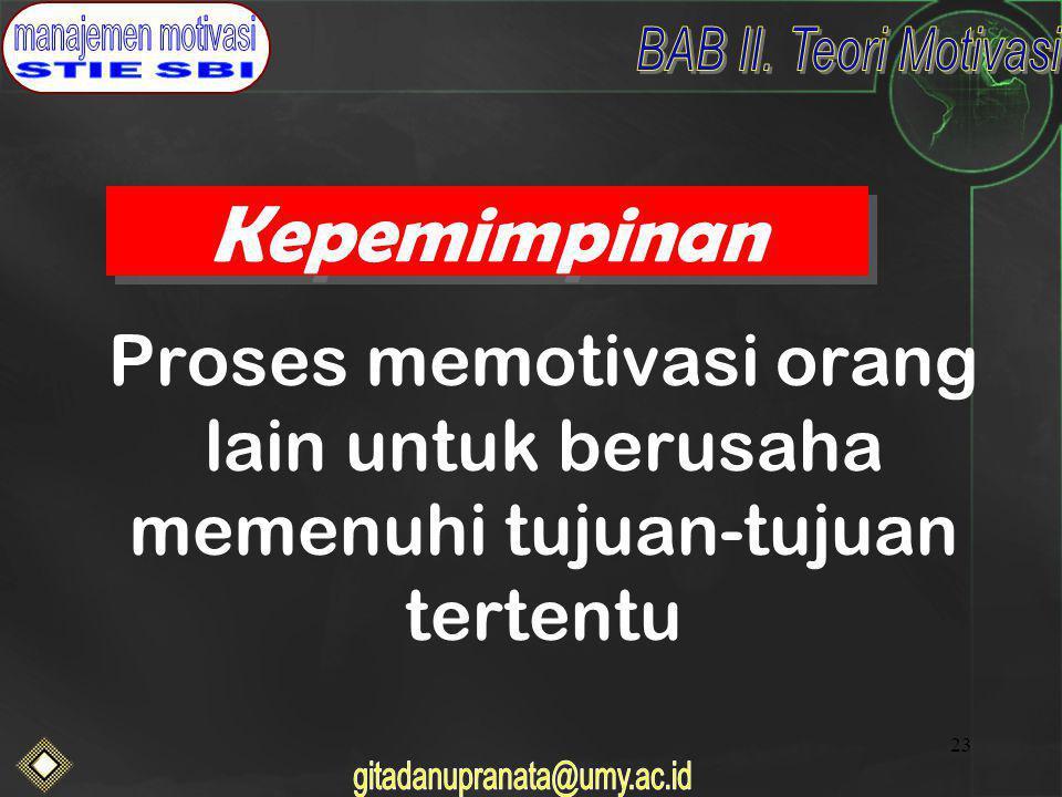Kepemimpinan Proses memotivasi orang lain untuk berusaha memenuhi tujuan-tujuan tertentu