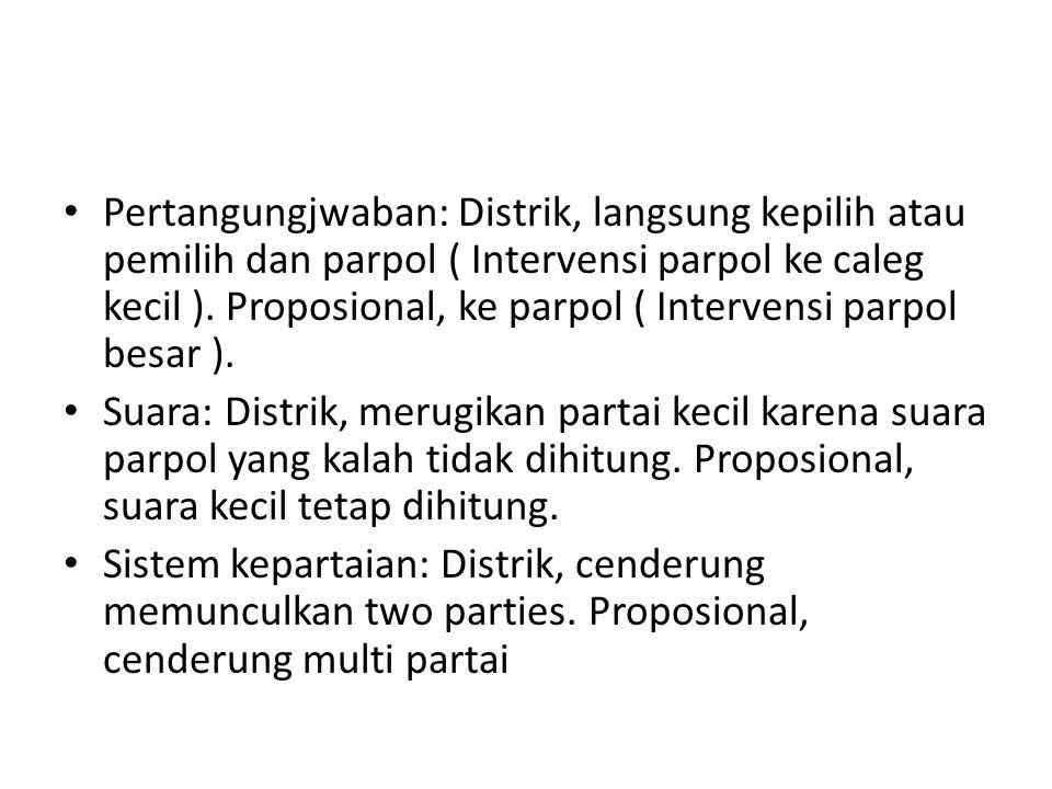 Pertangungjwaban: Distrik, langsung kepilih atau pemilih dan parpol ( Intervensi parpol ke caleg kecil ). Proposional, ke parpol ( Intervensi parpol besar ).